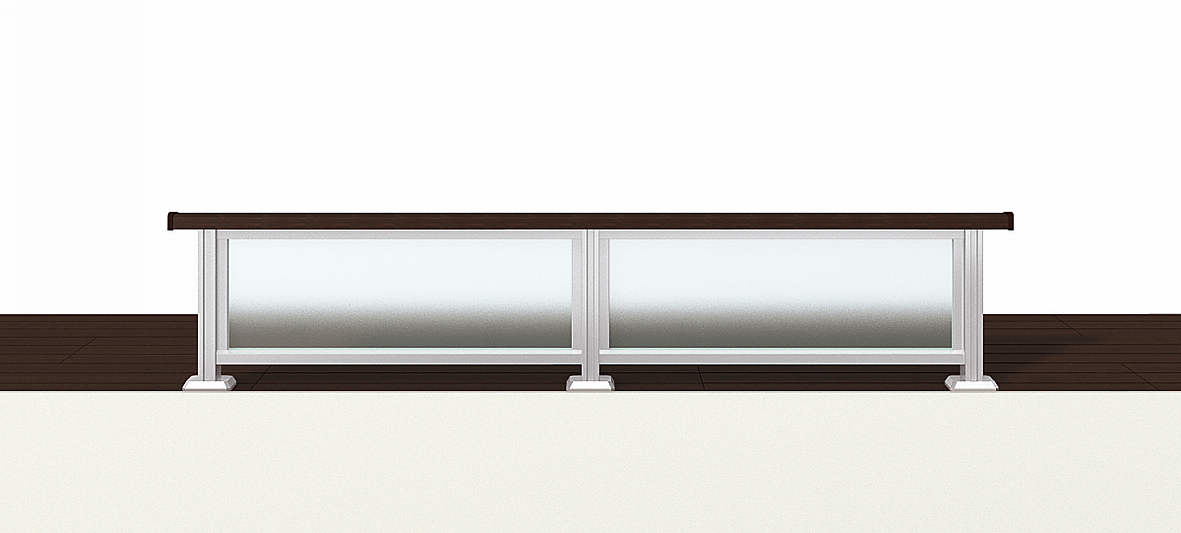 YKKAPアルミインテリア レイスルー手すり ロフト手すり 床支持タイプ フレーム:[幅3001~4000mm×高250~449mm] YKK 室内インテリア サッシ アルミ手
