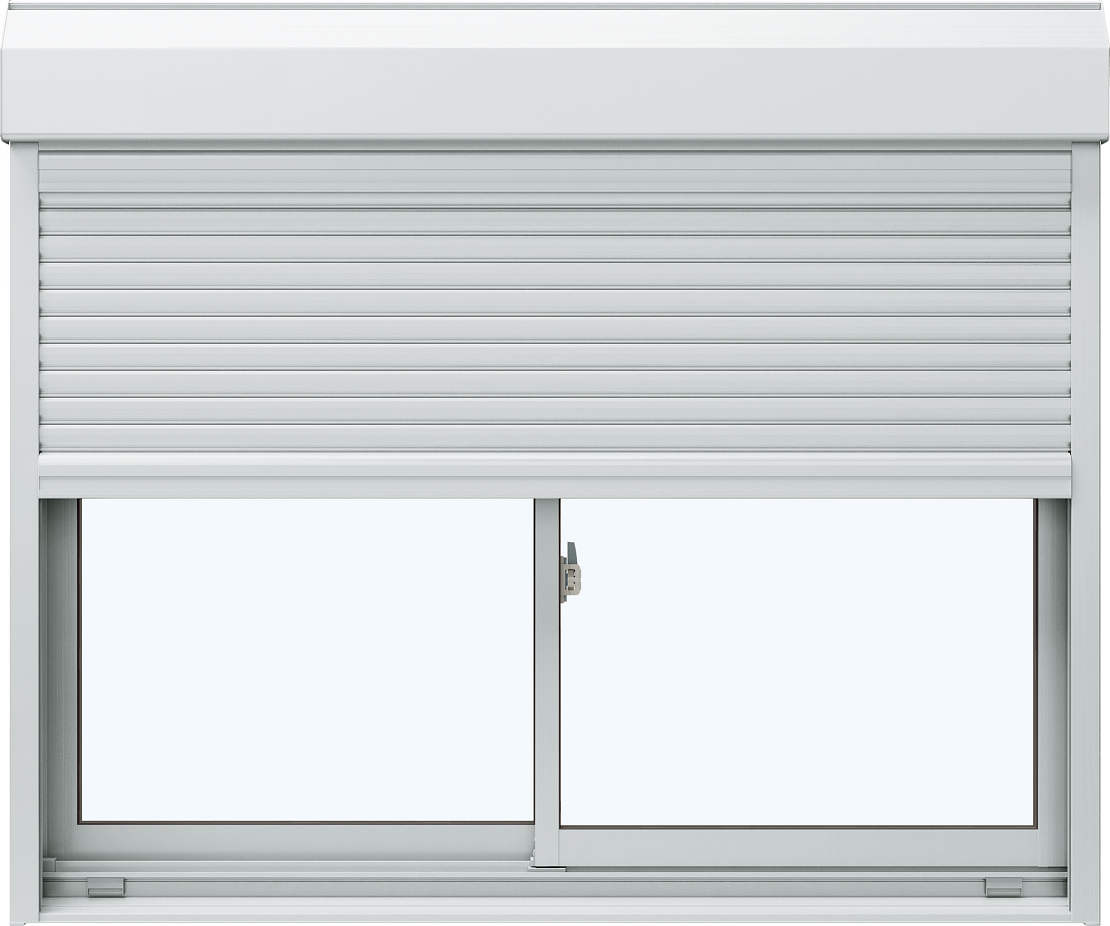 YKKAP窓サッシ 引き違い窓 エピソード[複層ガラス] 2枚建[シャッター付] スチール[外付型]:[幅1917mm×高1103mm]【YKK】【YKKアルミサッシ】【アルミサッシ】【引違い窓】【樹脂サッシ】【断熱サッシ】