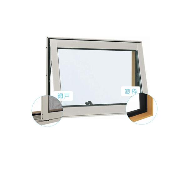 YKKAP窓サッシ 装飾窓 フレミングJ[複層ガラス][セット品] すべり出し窓 オペレーターハンドル仕様:サッシ・窓枠・網戸セット[幅780mm×高570mm]