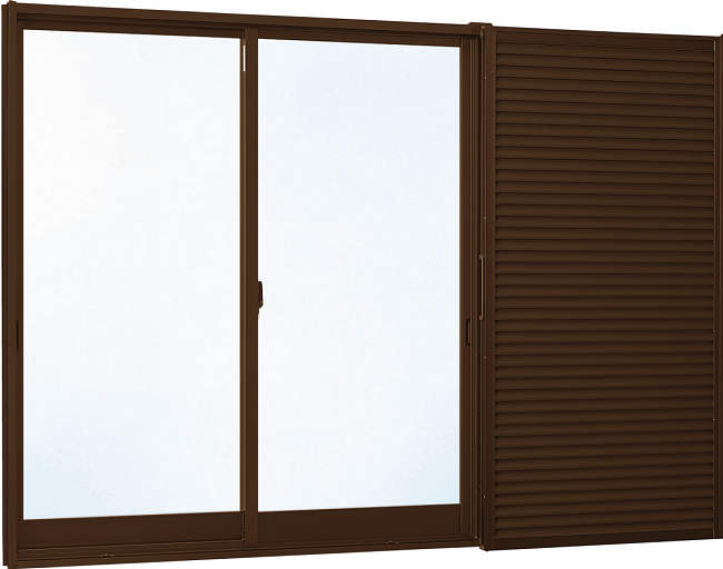 YKKAP窓サッシ 引き違い窓 人気商品 エピソード 複層ガラス 2枚建 雨戸付 半外付型: YKKアルミサッシ 断熱サッシ 大人気 窓サッシ 雨戸付き窓 幅1690mm×高2030mm 雨戸板付き 樹脂サッシ