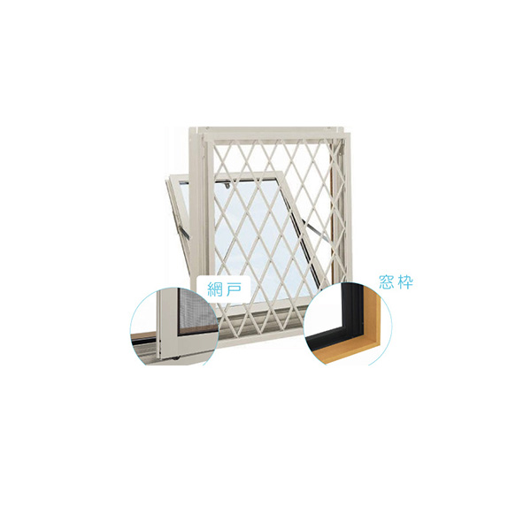 YKKAP窓サッシ 装飾窓 エピソード[複層ガラス][セット品] 面格子付内倒し窓 ラチス格子:サッシ・窓枠・網戸セット[幅640mm×高370mm]