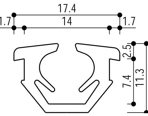 YKKAP窓サッシ部材ガラスビートロール品:14mm開口・ガラス厚5mm用(K-25041)100m