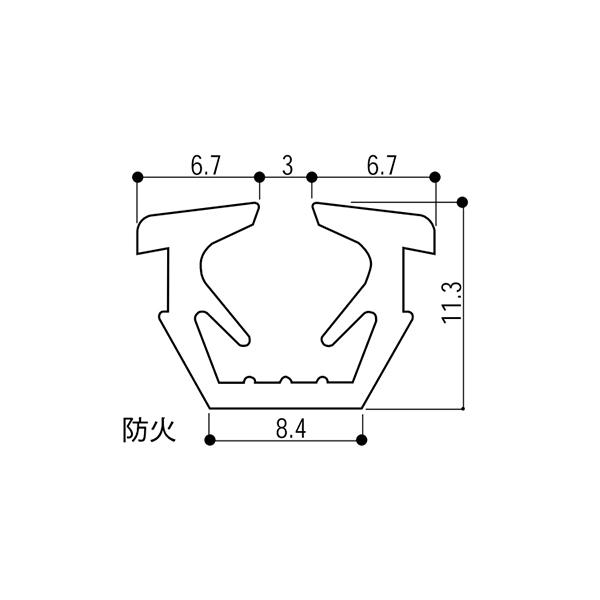 YKKAP窓サッシ部材ガラスビートロール品:14mm開口・ガラス厚6.8mm用(K-25714)100m