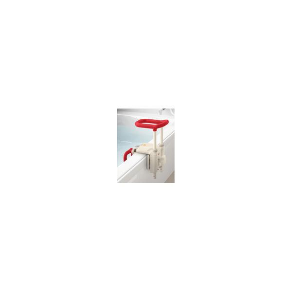 リフォーム用品 バリアフリー 浴室・洗面所 入浴介護用品:アロン化成 高さ調節付浴槽手すり UST-130N レッド