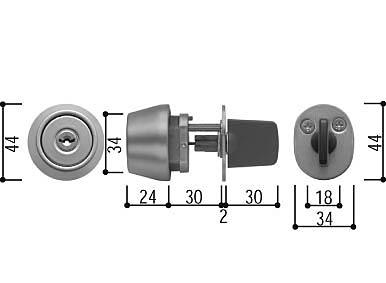 シリンダー(サムターン付)(HH-3K-19016)【玄関ドア】【店舗ドア】【框ドア】【通風ドア】【勝手口ドア】【テラスドア】【鍵】【錠】【シリンダー】【取り替え】