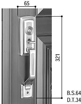 サムラッチハンドル錠セット(HH-J-0231)【玄関ドア用】【玄関ドアハンドル】【ハンドルセット】【主錠】【サムラッチ】【引手】【取手】【錠】
