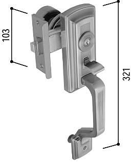 サムラッチハンドル錠セット(HH-K-16358)【玄関ドア用】【玄関ドアハンドル】【ハンドルセット】【主錠】【サムラッチ】【引手】【取手】【錠】