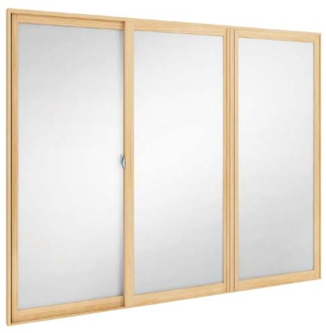 内窓MOKUサッシ 引違い窓 3枚建 複層ガラス 突合せタイプ LOW-E遮熱タイプ Low-E透明3mm 透明3mm 幅2501~2900mm×高300~600mm WOODONE ウッドワン 内窓 二重窓 二重サッシ DIY リフォーム 省エネ 無垢材