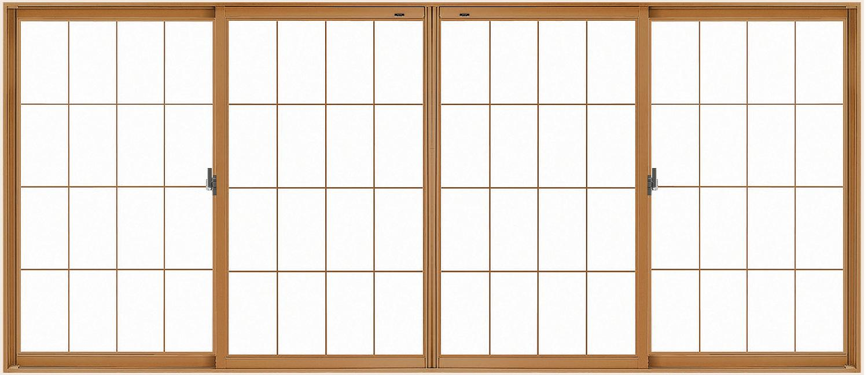 LIXILインプラス 引き違い窓 4枚建[単板ガラス] 和紙調3mm組子付ガラス:[幅2001~3000mm×高1001~1400mm]【トステム】【リクシル】【LIXIL】【引違い】【内窓】【二重窓】【樹脂製内窓】【二重サッシ】