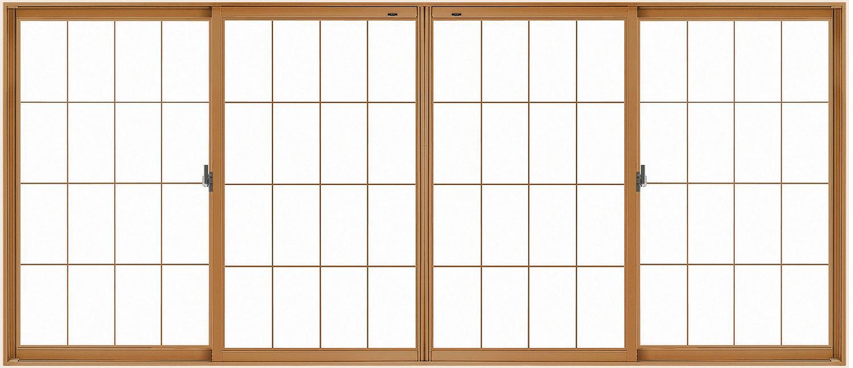 LIXILインプラス 引き違い窓 4枚建[単板ガラス] 和紙調5mm組子付ガラス:[幅1500~2000mm×高1001~1400mm]【トステム】【リクシル】【LIXIL】【引違い】【内窓】【二重窓】【樹脂製内窓】【二重サッシ】