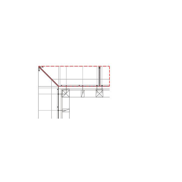 YKKAP窓まわり ひさし コンバイザー[出隅コーナー納まりセット] ベーシックスタイル[外観左側] 出幅450mm:先付・後付兼用[長さ2200mm]