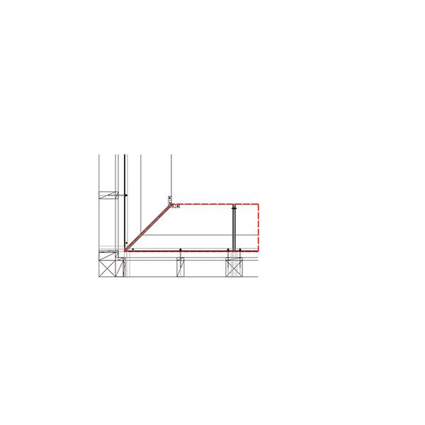 YKKAP窓まわり ひさし コンバイザー[入隅コーナー納まりセット] ベーシックスタイル[外観左側] 出幅450mm:先付・後付兼用[長さ1800mm]
