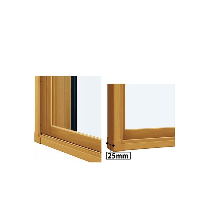 YKKAPプラマードUオプションふかし枠引き違い窓用25mm・三方:[幅2901〜3000mm×高1301〜1400mm]