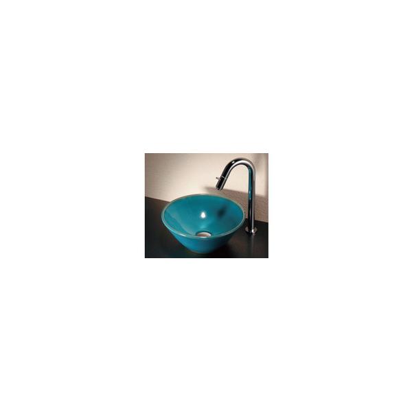 リフォーム用品 水まわり 洗面所 手洗器:カクダイ 瑠珠 丸型手洗器 置き型 孔雀色