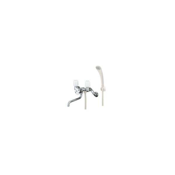リフォーム用品 水まわり 浴室 混合栓:カクダイ 2ハンドルシャワー混合栓(一時止水)