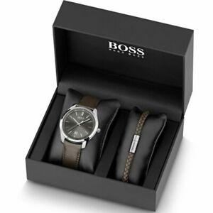 chronograph boss 1570083 bracelet watch strap ヒューゴボスメンズクロノグラフブラウンレザーストラップウォッチブレスレットhugo brown with 【送料無料】腕時計 mens leather