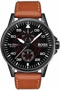 送料無料 腕時計 OUTLET SALE ヒューゴボスアビエイターパイロットブラウンレザーストラップメンズウォッチhugo boss 1513517 aviator leather brown men's watch pilot strap 正規激安