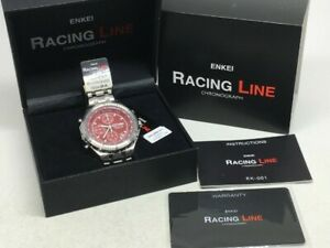 送料無料 腕時計 エンケイレーシングラインクロノグラフスポーツウォッチレッドホイールリムレアenkei 毎日続々入荷 racing 即納送料無料 line chronograph sport ek001r wheels red watch rims rare jdm