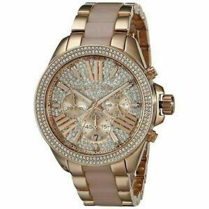送料無料 腕時計 マイケルコースレンミリメートルクリスタルローズゴールドmichael kors wren 定価の67%OFF mk6096 womens crystal rose resin watch 41mm steel 最安値に挑戦 gold