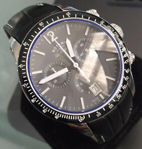 送料無料 使い勝手の良い 腕時計 メンズコンロータリーレオリジナルズクロノグラフスイスブラックサファイアレザー 卓出