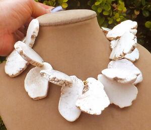 <title>送料無料 ジュエリー アクセサリー マグネサイトホワイトダレコリアーample geant magnesite blanc dalle gem collier imposant 大人気! nid pour votre cou</title>