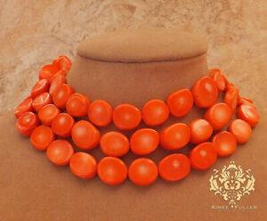 <title>送料無料 訳あり商品 ジュエリー アクセサリー ネックレスマンダリンオレンジコーラルビッグジュエリーストランドセラーlg collier imposant mandarine orange corail gros bijoux 3strand usa vendeur</title>