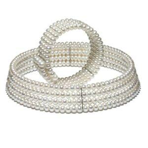 送料無料 ジュエリー アクセサリー ジャケットネックレスブレスレットロウparure femme collier 激安通販販売 et bracelet blanc 4 perles culture rangs douces deau de 買物