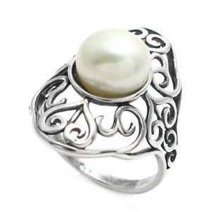 swirl pearl size 510 freshwater sterling ring 【送料無料】ジュエリー・アクセサリー large and silver heart スターリングシルバーパールラージハートアンドスワールリングサイズ925