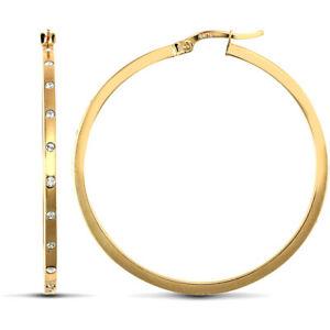 送料無料 ジュエリー アクセサリー ゴールドエタニティフープイヤリング9ct oro cz 蔵 40mm cerchi orecchini 新作からSALEアイテム等お得な商品 満載 2mm eternity