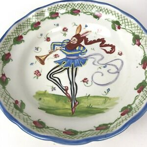【送料無料】キッチン用品・食器・調理器具・陶器 パメラシリンダンスバニーウサギボウルディッシュスカラップエッジジェスターVtg Pamela Silin-Palmer Dancing Bunny Rabbit Bowl Dish Scalloped edge Jester 10