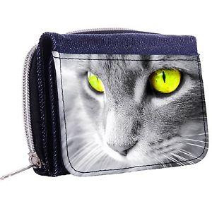 【送料無料】猫 ネコ キャット バッグ 小物 デニムウォレットウィンドウボタンyellow eyed cat denim trifold half wallet w id window button