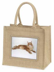 【送料無料】ジュートショッピングバッグクリスマスred maine coon cat large natural jute shopping bag christmas gift idea, ac17bln