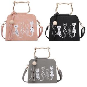 【送料無料】ハンドバッグメッセンジャーショルダーバッグサッチェルトートバッグuk women cute cat handbag messenger crossbody shoulder bag satchel tote purse