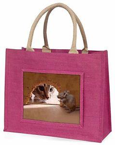 【送料無料】マウスピンクショッピングバッグクリスマスプレゼントアイデアcat and mouse large pink shopping bag christmas present idea, amo3blp