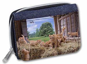 【送料無料】猫 ネコ キャット バッグ 小物 ショウガネコレディースデニムginger cat and kittens in barn girlsladies denim purse wallet christma, ac71jw