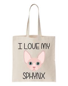 【送料無料】キャンバストートバッグsphynx cat canvas tote shopping bag i love my sphynx bnwt