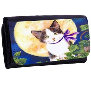 【送料無料】猫 ネコ キャット バッグ 小物 ムーンジッパービルフォールドカードホルダーロングウォレットcat with moon bifold zipper bill amp; card holder long wallet