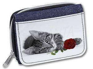【送料無料】猫 ネコ キャット バッグ 小物 バラレディースデニムクリスマスcat with red rose girlsladies denim purse wallet christmas gift ide, ac204r2jw