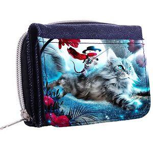 【送料無料】猫 ネコ キャット バッグ 小物 マウスデニムウォレットウィンドウボタンthe cat and the mouse denim trifold half wallet w id window button