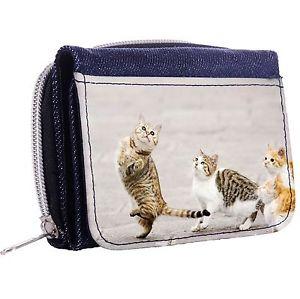 【送料無料】猫 ネコ キャット バッグ 小物 ダンスデニムウィンドウボタンthe cat dance denim trifold half wallet w id window button