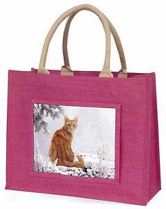 【送料無料】ショウガピンククリスマスプレゼントac63blpginger winter snow cat large pink shopping bag christmas present idea, ac63blp