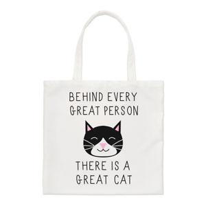 【送料無料】トートバッグbehind every great person is a great cat small tote bag crazy lady shoulder