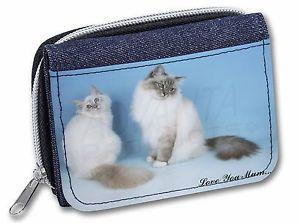 【送料無料】猫 ネコ キャット バッグ 小物 プリント##レディースデニムbirman cat print 039;love you mum039; girlsladies denim purse wallet chri, ac48lymjw