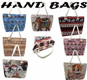 【送料無料】レディースキャンバスビーチショルダーバッグトートハンドバッグladies canvas beach lightweight shoulder bag summer tote holiday shopper handbag