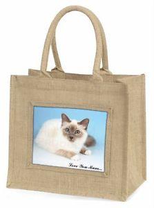 【送料無料】#ジュートショッピングバッグクリスマスbirman cat 039;love you mum039; large natural jute shopping bag christmas, ac90lymbln