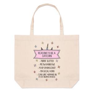 【送料無料】ビーチトートバッグユニコーンreasons to be a caticorn large beach tote bag funny shoulder cat unicorn