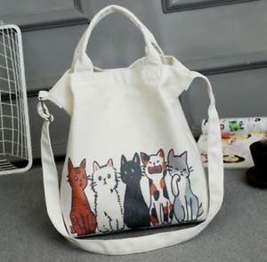 【送料無料】レディースショルダーショッピングバッグキャンバスビーチフロントcartoon cat ladies shoulder large capacity female shopping bag canvas beach hand
