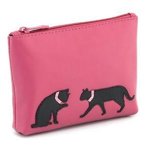 【送料無料】猫 ネコ キャット バッグ 小物 ハーネスレザージップトップコインアップリケピンクharness leather zip top coin purse with leather applique cat detail pink