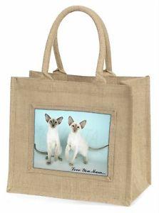 【送料無料】シャム#;#ジュートショッピングバッグsiamese cats 039;love you mum039; large natural jute shopping bag christm, ac22lymbln