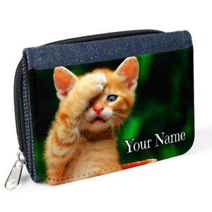 【送料無料】猫 ネコ キャット バッグ 小物 パーソナライズデニムコインスクールpersonalised girls purse cute kitten cat denim coin school gift birthday st788